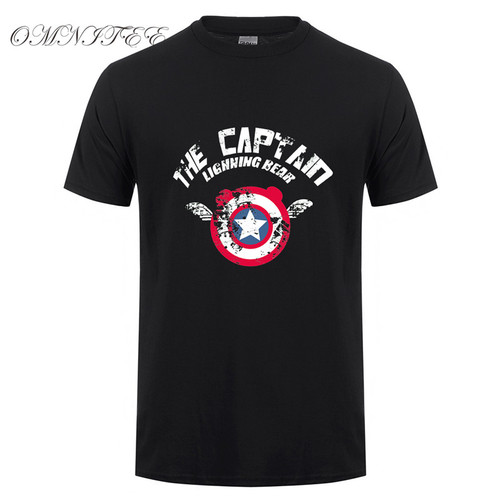 Top Quality Marvel Captain America T Shirts Summer Short Sleeve Cotton Captain America Superhero Men T-shirts Fashion Men Tops