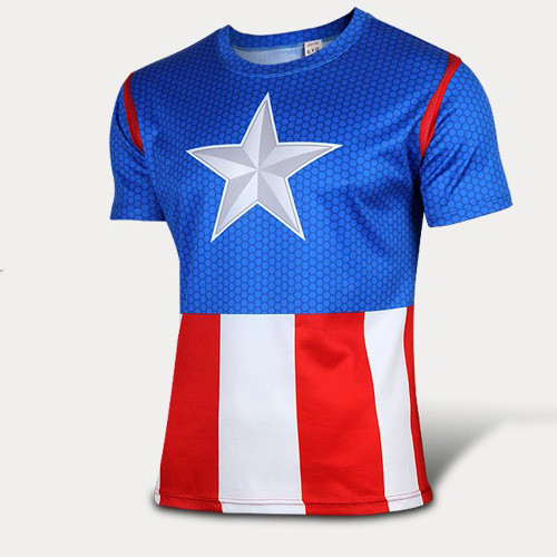 New 2016 superhero captain America 2 zip tights fitness T-shirt t-shirts batman superman punisher spiderman T-shirt
