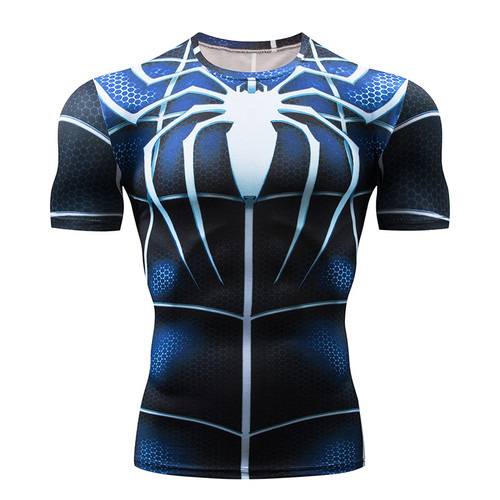 Compression Shirt Superman Captain America men 3D Blue Spider Print T-Shirt