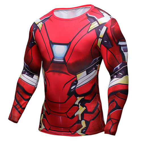 Iron Man 3D Printed T-shirts Captain America Civil War Tee Long Sleeve Compression Shirt Cosplay Costume Fitness Clothing Tops