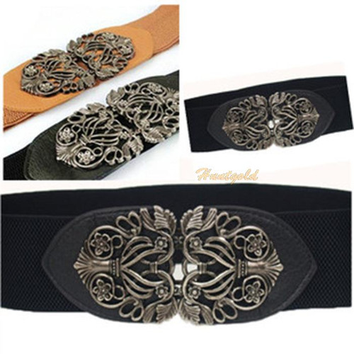 Women's Retro Vintage Hollow Flower Embossment Buckle Wide Waistband Belt Girth
