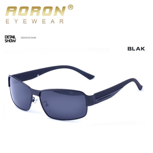 AORON New Fashion High Quality Metal Frame Rectangle Lens Polarized Men Sunglasses Male Driving  Sun Glasses