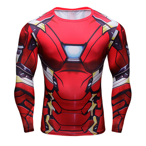 2018 Iron Man 3D Printed T-shirts Captain America Civil War Tee Long Sleeve Compression Shirt Cosplay Costume Fitness Clothing