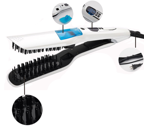 Professional Steam Fast Hair Straightener Comb Spray Vapor Flat Iron Hair Straightening Brush Hair Styling Tools LCD Digital