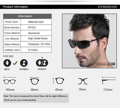 Kingseven Brand Men Glasses Polarized Coating Sunglasses Men Sun Glasses Women Goggles Night Vision Driving Sunglass 7523