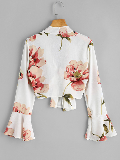 ZAN.STYLE Women Floral Cropped Blouses Bell Sleeve Flower Print Blouse Spirng Casual Fashion Crop Tops Female Shirts Blusas XL