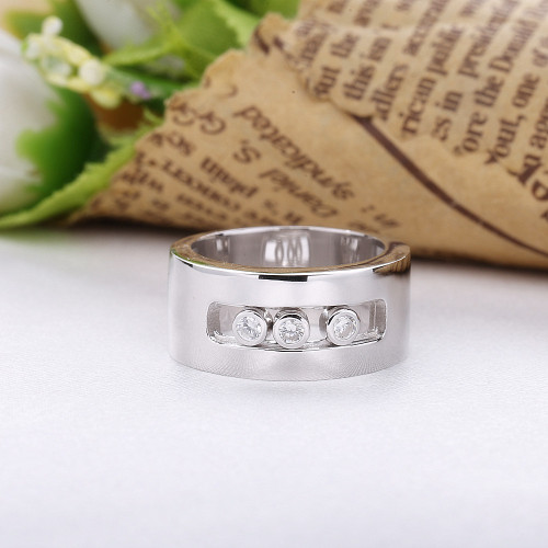 Slovecabin France Popular Jewelry 925 Sterling Silver Moved Wedding Ring For Women Silver 925 Crystal Ring Fine Jewelry Anillos
