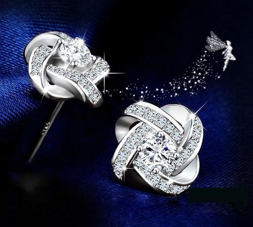 Jemmin Crystal Earrings 925 Sterling Silver Knot Flower Stud Earrings for Women Brincos Bijoux Wedding Jewelry