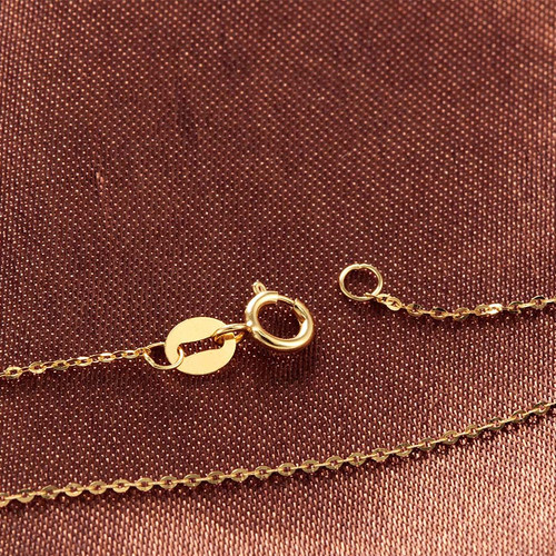 Real Pure Gold Chain For Women High Quality Fashion 18K Gold Necklace Elegant Genuine Yellow Gold Jewelry 40/45/50cm 0.8g Lindo