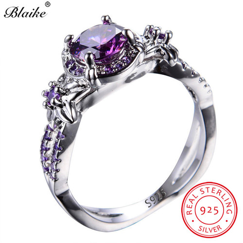 Blaike 100% Solid S925 Sterling Silver Amethyst Rings For Women Purple Round Zircon Star Flower Ring February Birthstone Jewelry