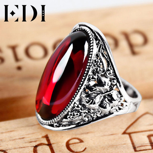 EDI 925 Sterling Silver Natural Garnet Adjustable Ring for Women Vintage Classic Sterling Silver Jewelry Wedding Rings