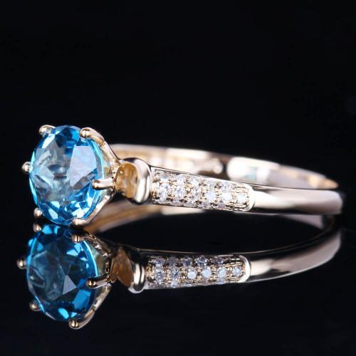 Solid 10k Yellow Gold Engagement Natural Diamonds Wedding Fine Ring 6.5mm Round Swiss Blue Topaz Anniversary Gemstone Ring