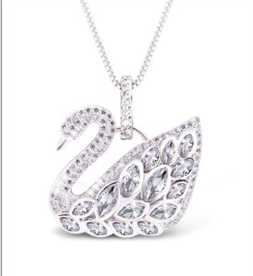 2017 New Original Crystals from Swarovski name Necklaces 925 silver Fine Jewelry For Women chain Christmas Party Gift
