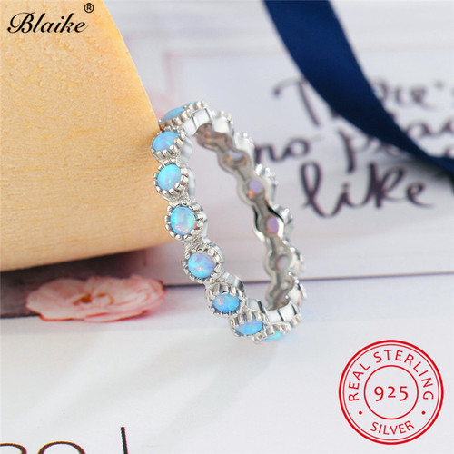 Blaike Top Quality Genuine 925 Sterling Silver Rainbow Fire Opal Ring Women Fine Jewelry Round Blue Birthstone Wedding Bands