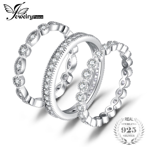 JewelryPalace Fashion 2.15ct Cubic Zirconia 3 Eternity Band Rings For Women Pure 925 Sterling Silver Ring Fashion Newes Jewelry