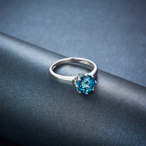 Hutang Stone Jewelry 2.73ct Natural Gemstone London Blue Topaz Solid 925 Sterling Silver Engagement Rings Fine Jewelry For Gift