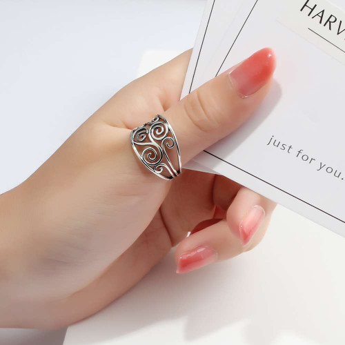 100% 925 Sterling Silver Rings Vintage Style Rings For Women Mother's day Anniversary Classic Gift(Lam Hub Fong)