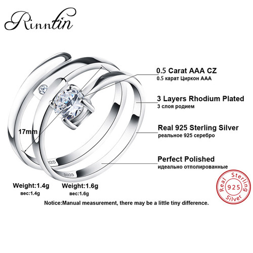 Rinntin 100% Sterling Silver 925 Promise Rings Set With Cubic Zircon Resizable Couple Ring For Women Men Fine Jewelry TSR22