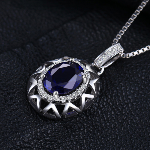 JewelryPalace Unique Design 1.5ct Created Blue Sapphire Pendant 925 Sterling Silver Fashion Jewelry for Women Without the Chain
