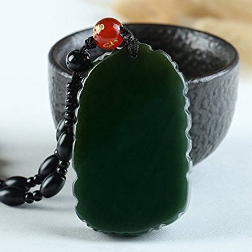 Pure natural hand carved qing jade dragon necklace pendant Size:50MM *31MM