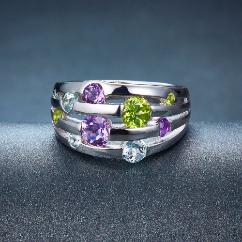 Hutang Stone Jewelry Natural Peridot Amethyst Blue Topaz Solid 925 Sterling Silver Ring Colorful Gemstones Fine Fashion Jewelry