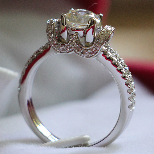 Marry Me Fabulous Briliant 14K Luxury Jewelry Fiancee Ring Semi Mount 1CT Solid 14K White Gold Diamond Ring Engagement