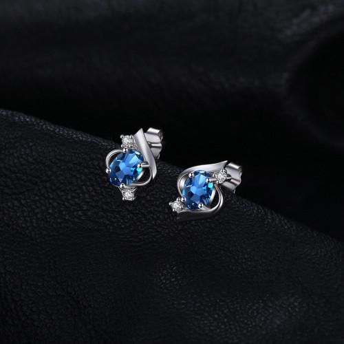 JewelryPalace Oval 1.1ct Natural London Blue Topaz Stud Earrings 925 Sterling Silver Gemstone Jewelry Earrings Women 2018 Trendy