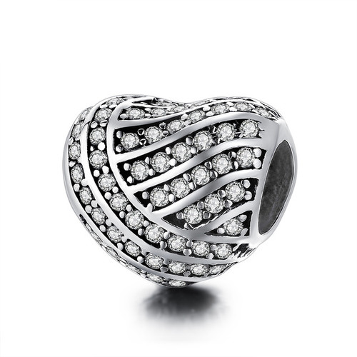 12 Style Authentic 925 Sterling Silver Heart Shape Beads Charm Fit pandora Charm Bracelet DIY Original Silver Jewelry