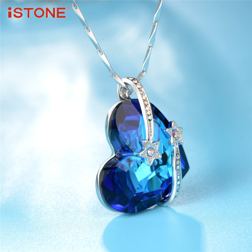 iSTONE Blue Crystal Heart Of Sea Pendant Necklaces With 925 Sterling Silver Necklace Natural Gemstone Fine Jewelry for Woman