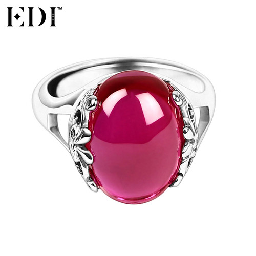 EDI 925 Sterling Silver Wedding Rings for Women Pink Natural Gemstones Ruby Thai Silver Rings Fine Jewelry Love Gifts