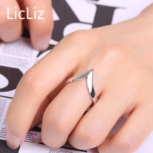 LicLiz Genuine 925 Sterling Silver Adjustable Rings For Women Men Party V Ring Simple Geometric Triangle Open Ring Ringen LR0313