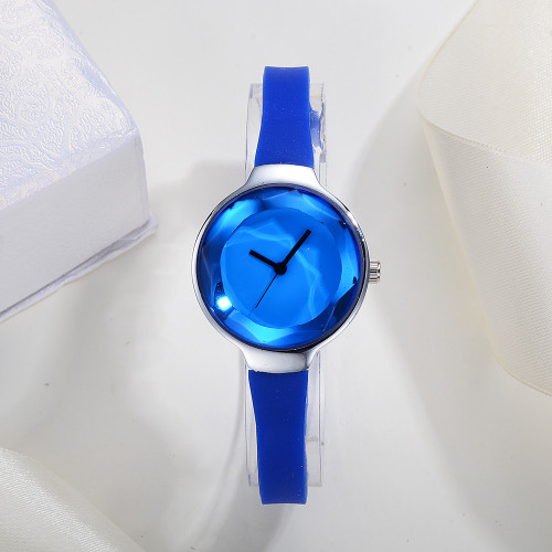 Gem jewelry watch Luxury Fashion gift Leather Band Analog Quartz Round Wrist Watches