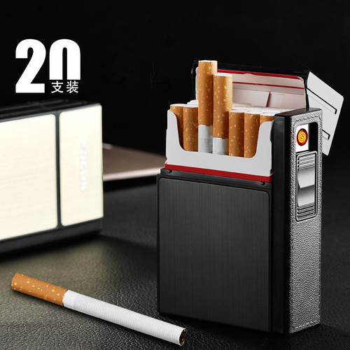 2018 New Cigarette Case USB Lighter Rechargeable Electronic Lighter With Cigarettes Box Holder Turbo Lighter Palsma Pulse