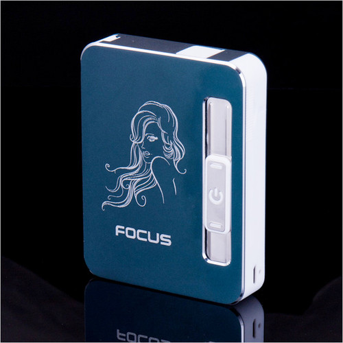 New 1pcs Focus 10 automatic Cigarette cases with USB charging lighter and lighter cigarette box With gift Box YH022