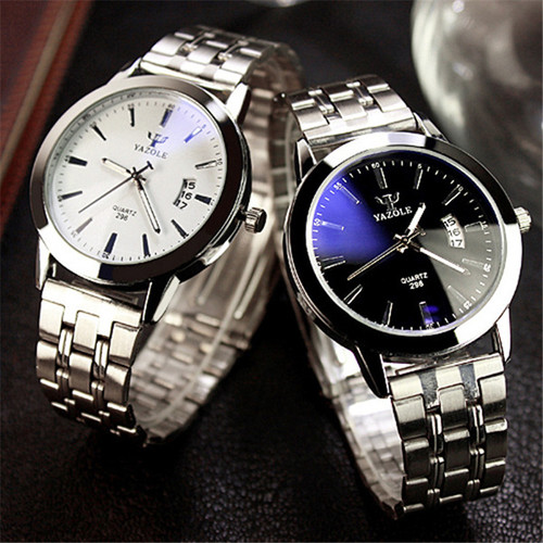 YAZOLE 2017 Fashion Mens Watches Stainless Steel Calendar Waterproof Watch Women Lover Quartz Watch Montre Homme YD296-G
