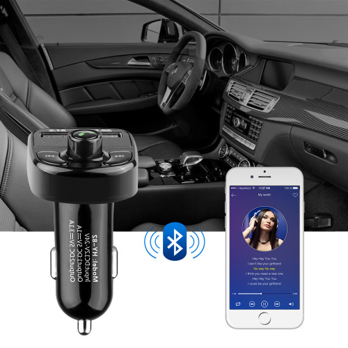 4.1A  Dual USB Car Charger 3.1A and 1A Port USB Phone Charger With FM Transmitter Bluetooth MP3 Player Function
