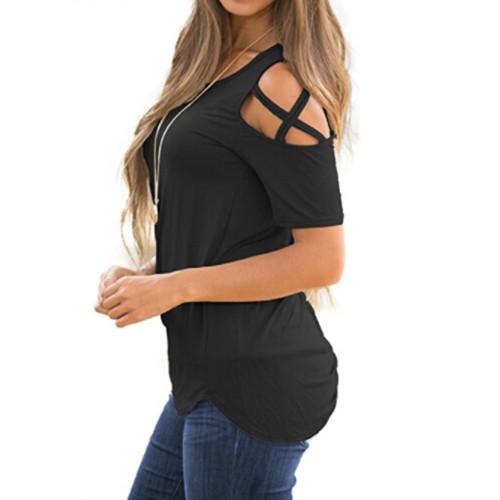 Women Summer Short Sleeve Strappy Cold Shoulder T-Shirt Tops t shirt women short feminino camisa feminina  camiseta feminina