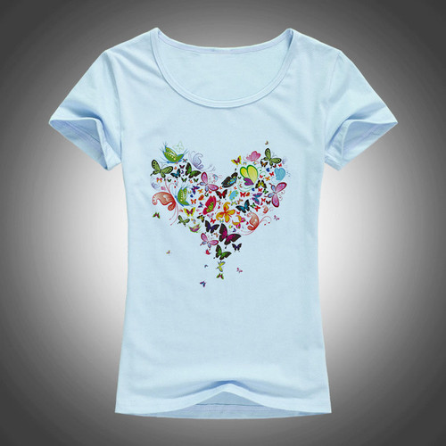 2017 summer Heart shape colorful butterfly t shirt women beautiful spring summer shirt brand fashion shirt cool tops F05
