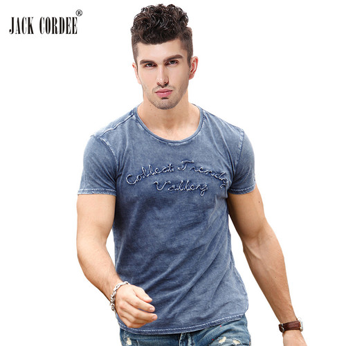 JACK CORDEE Fashion T shirt Men Letter Embroidered 100% Cotton Tee Shirt Slim Short Sleeve Tshirt O-Neck Tops Brand T-shirt Men