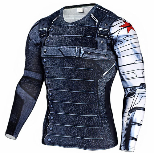 2017 Marvel Superhero Winter Soldier Bucky 3D Men T Shirt Fitness Crossfit T-Shirt Long Sleeve Compression Shirt Mens MMA