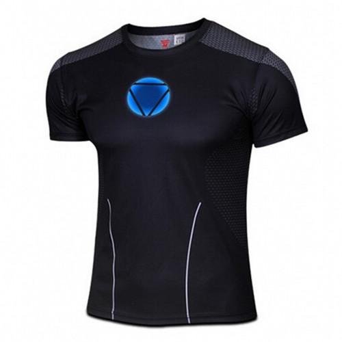 Marvel Super Heroes Avengers Age of Ultron Captain America Batman Tights T shirt Men fitness clothing short sleeves