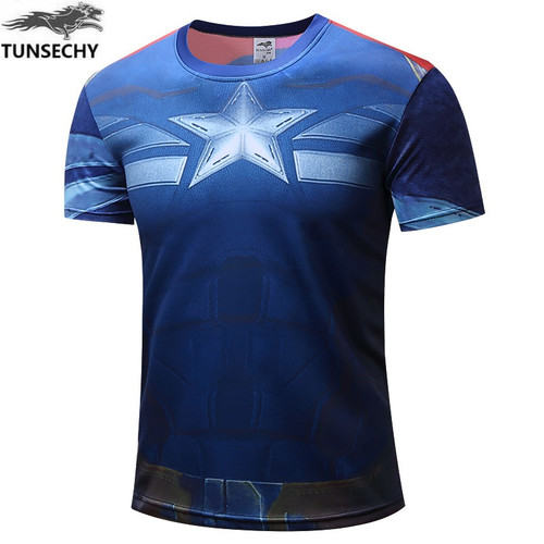 TUNSECHY NEW 2017 Marvel Captain America 2 Super Hero lycra compression tights T shirt Men fitness clothing short sleeves S-4XL
