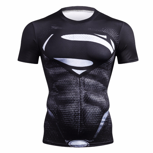 2018 marvel Superman  compression shirt fitness tights crossfit quick dry short sleeve t shirt Summer Men Building tee tops