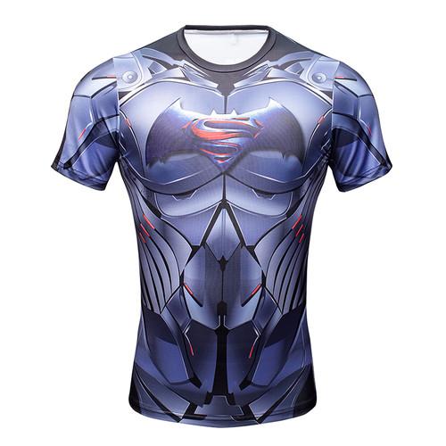 NEW 2016 Marvel Captain America 3 Super Hero lycra compression tights T shirt Men fitness clothing short sleeves S-3XL