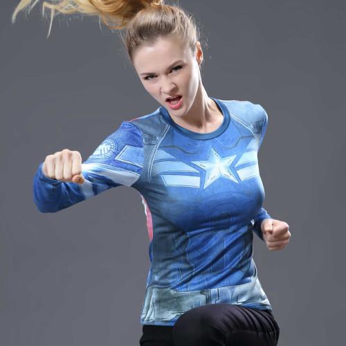 Women T-shirt Bodys Marvel costume superman/batman T Shirt Long Sleeve Girl Fitness Tights Compression tshirts plus size