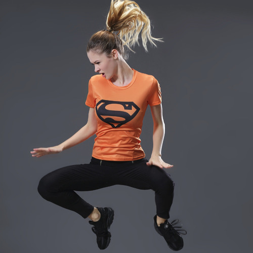 Marvel Women Bodys  T-shirt superman Compression T Shirt Female Fitness Tights Under Tee Shirt Femme running t shirts