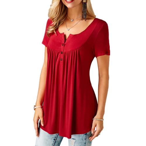2018 Women T-shirts Split Neck Short Sleeve Tees Tunic Tee Shirt Femme Shirt Women Tops