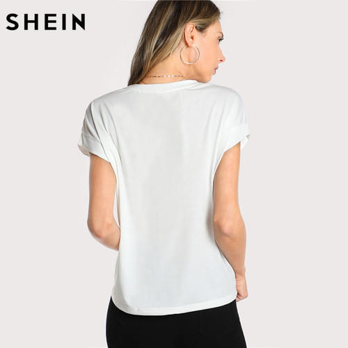 SHEIN T shirt Women Tops Summer O-neck T shirt Batwing Sleeve Tassel Detail Embroidery Dolman Top White Short Sleeve T-shirt