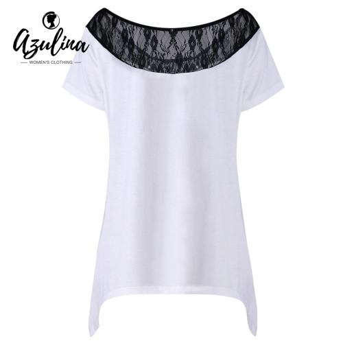 AZULINA Plus Size Lace Trim Monochrome T-Shirt Women 2018 Casual Summer T Shirt Ladies Tops Short Sleeve O Neck Tshirts Big Size