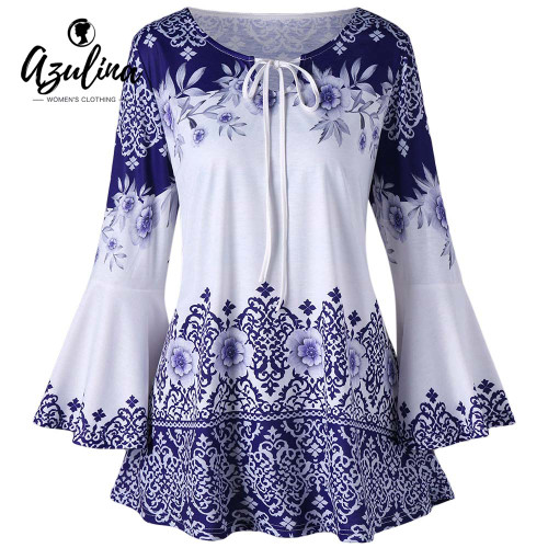 AZULINA Plus Size Print Keyhole T-Shirts Women T Shirt Causal Flare Sleeve Keyhole Neck T-shirts Ladies Tops Big Size 5XL Tshir